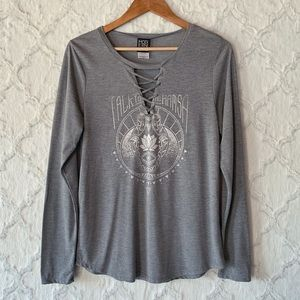 Modern Lux Boho Hamsa Lace Up Graphic Tee